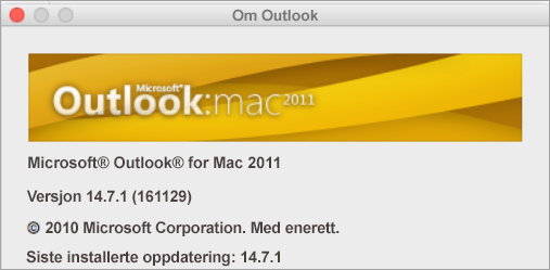 Om Outlook-boksen vil si Outlook for Mac 2011.