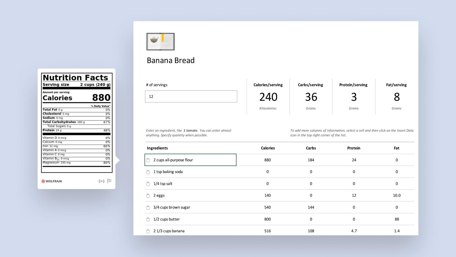 Skjermbilde av smartmalen for Recipe Analyzer.