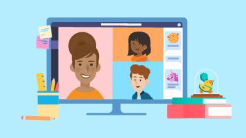 illustrasjon av en dataskjerm med Teams åpen, som er vert for en ekstern klasseøkt