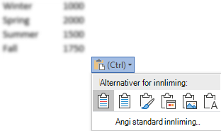 Knappen Alternativer for innliming, ved siden av enkelte Excel-data, utvidet for å vise alternativene