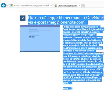 Skjermbilde som viser en del av en nettside som er merket for kopiering.