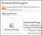 Legge til en ny e-postkonto i Outlook 2010