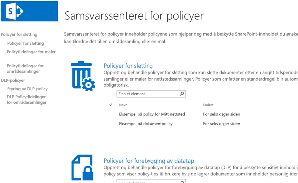 Samsvarssenter for Policy