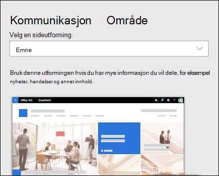 Bruke en utforming på et SharePoint-område