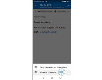 E-postmelding med alternativet Konverter til hendelse uthevet