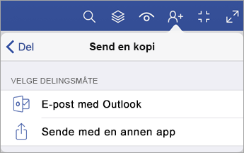 Send en Kopi-meny som viser to alternativer for hvordan du deler en fil, enten via e-post med Outlook eller sende med en annen app.