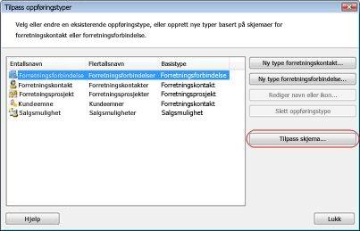 dialogboksen for tilpassing av posttyper med knappen for tilpassing av skjema uthevet.