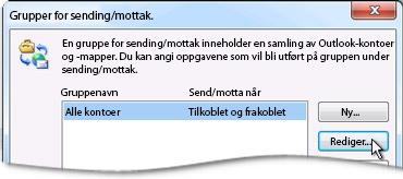 Dialogboksen Grupper for sending/mottak