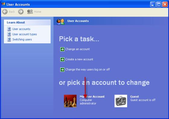 Din brukerkontotype er oppført ved siden av brukerkontobildet