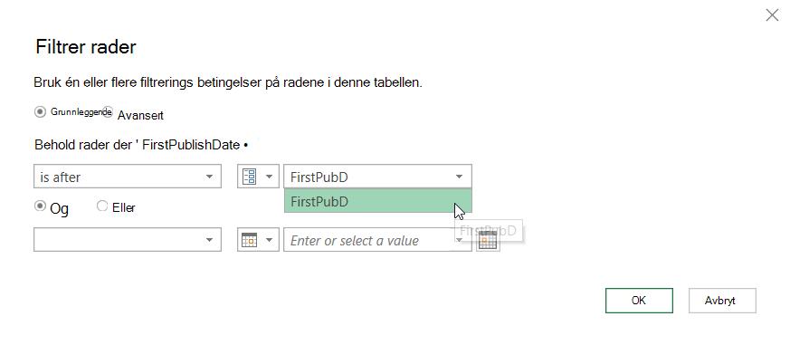 Dialog boksen Filtrer rader, som viser en valgt parameter