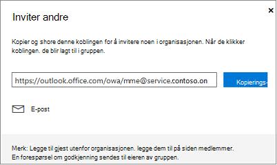 Klikk Kopier eller e-post for å bygge inn koblingen bli med i en e-postmelding