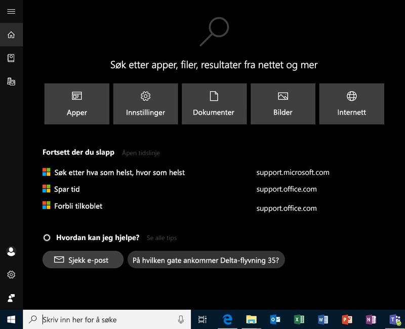 Søk i Windows 10