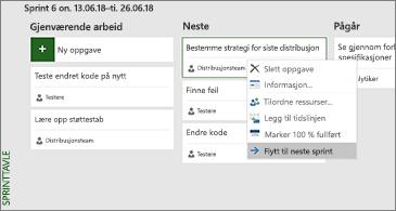 Sprinttavle og liste over tilgjengelige oppgaverelaterte kommandoer
