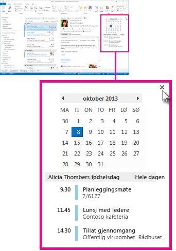 Kommandoen Fjern oversikten på den festede kalenderoversikten