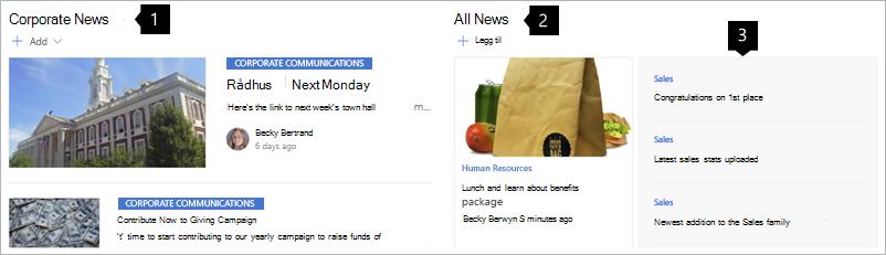 Eksempel på nyheter på et intranett hub-nettsted