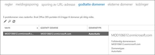 Skjermbilde som viser siden Godtatte domener i administrasjonssenteret for Exchange. Informasjon om navnet, det godtatte domenet og domenetypen vises.