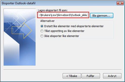 Plasseringen som du lagrer filen på og filnavnet vises i boksen Eksporter filnavn.
