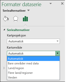 Alternativer for kart område for Excel Map