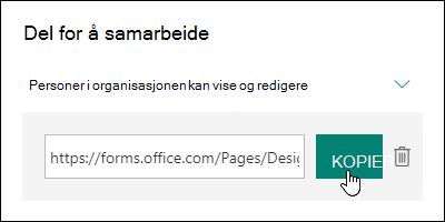 Et skjema samarbeide URL-kobling ved siden av en knappene Kopier og Slett