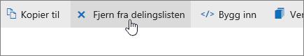 Et skjermbilde som viser Fjern fra delt liste-knappen på OneDrive.com.