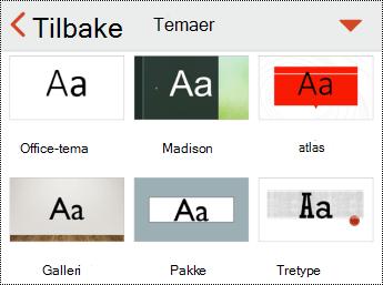 Temaer-menyen i PowerPoint for iOS.
