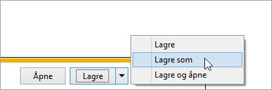 Et skjermbilde av dialogboksen Lagre som-knapp