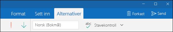 Alternativer-fanen i appen Outlook E-post