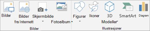 Sett inn bilder eller illustrasjoner i PowerPoint.