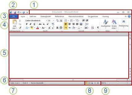 Elementer i Word-vinduet