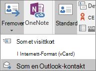 Velg Videresend i Handlinger-gruppen under fanen Kontakt i Outlook, og velg deretter et alternativ.