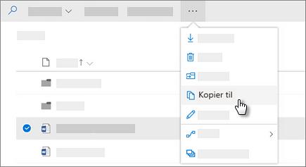 Skjermbilde av Kopier til-kommandoen i OneDrive for Business