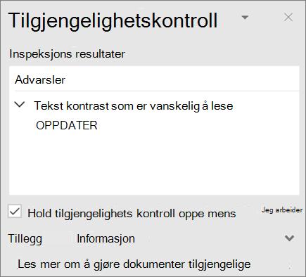 Tilgjengelighets kontroll i Outlook