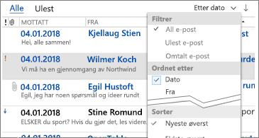 Liste over tilgjengelige filtre for sortering av meldinger