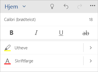 Skjermbilde av Tekstformatering-menyen i Word Mobile.