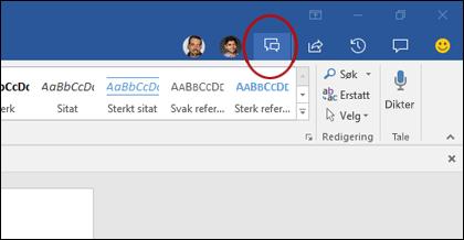 Klikk på chatknappen i galleriet samtidig redigering for å åpne chattevinduet