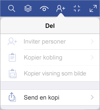 Sende en kopi av en fil i Visio Viewer for iPad