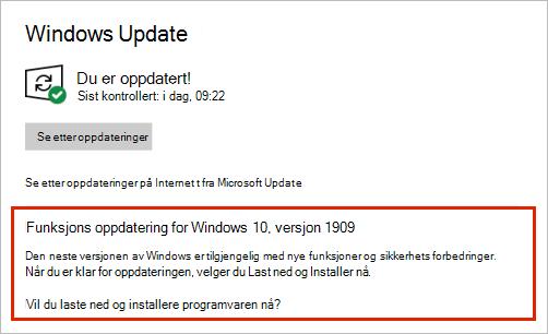 Windows Update som viser funksjons oppdaterings plassering