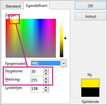Området i fargerektangelet angir kulør og metning