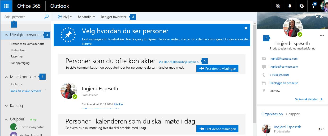 Et skjermbilde av Personer-siden.