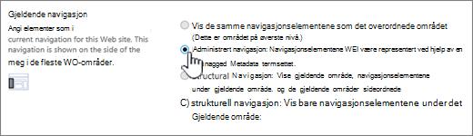 Gjeldende navigasjons del med administrert navigasjon valgt