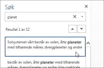 Søk-ruten i Word Online