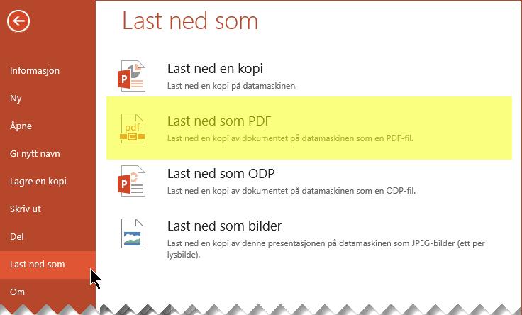 Velg Fil > Last ned som > Last ned som PDF