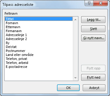 Dialogboksen Tilpass adresseliste