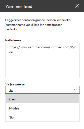 Boks for Web adresse for Yammer-feed