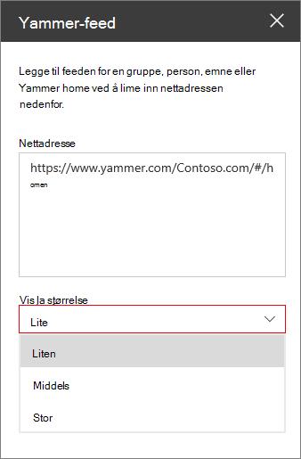Yammer-feed nettadressefelt