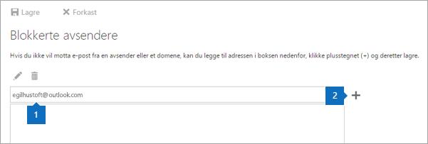 Et skjermbilde av siden blokkerte avsendere.