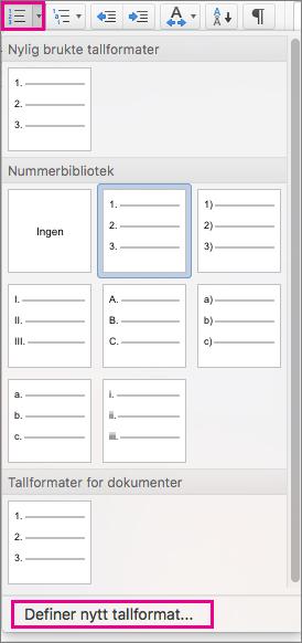 Nummerering-ikonet og Definer nytt tallformat er uthevet på Hjem-fanen.
