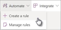 Skjermbilde av oppretting av en regel fra Automatiser-menyen i en liste
