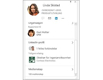 Kontaktkort med LinkedIn-informasjon