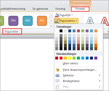 Alternativer for figurkantlinjer i PowerPoint 2010